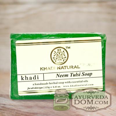 "Мыло Кхади ""Ним и Тулси"" 125г (Khadi NEEM TULSI SOAP)"